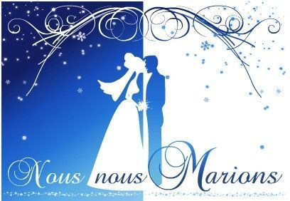 cr er son faire part de mariage model de carte de mariage bleu et or. Black Bedroom Furniture Sets. Home Design Ideas